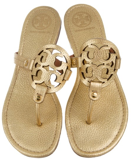 5bc6481d6 Tory Burch Gold Gold-tone Pebbled Leather Miller Sandals Size US 10 ...