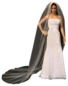 Champagne Long Gold Thread Hemmed Edge Cathedral Bridal Veil
