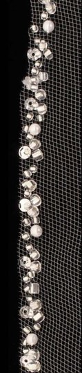 Diamond White Long Cathedral with Rhinestone Pearls Bugle Beads Bridal Veil