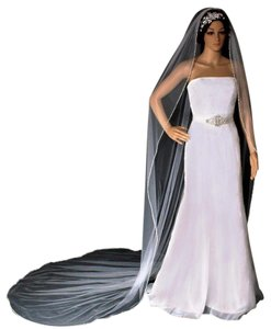 White Long Tightly Sewn Shiny Bugle Bead Triplet Edge Cathedral Bridal Veil