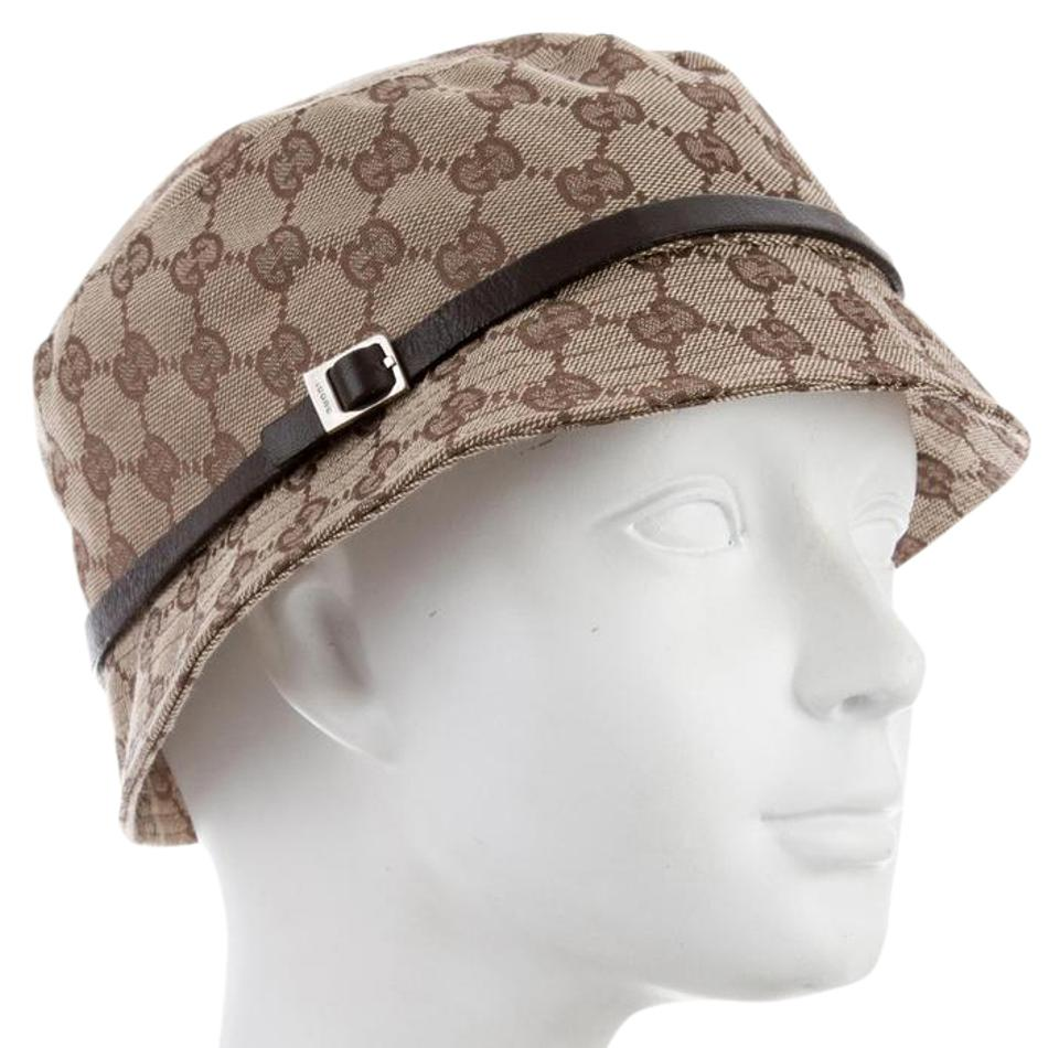 8406ea89e46 Gucci Brown Beige Gg Monogram Canvas Bucket Hat - Tradesy