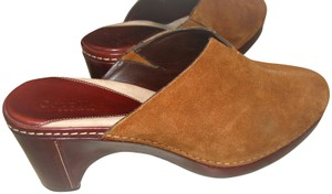 Cole Haan Leather Suede Wedge Woman's Tan Mules