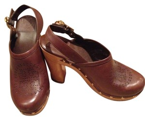 Tory Burch Brown Leather Mules