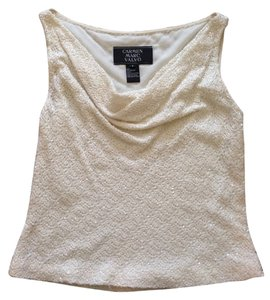 Carmen Marc Valvo Top Off White Beaded
