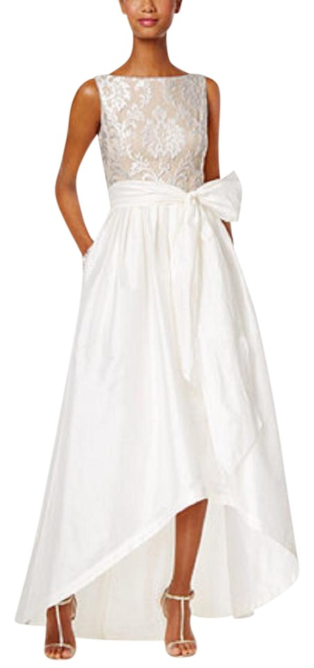 95950bc2fae Adrianna Papell Ivory Embroidered Taffeta High-low Gown Ivory Nude Formal  Dress