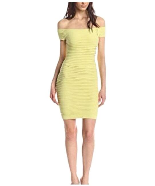 Item - Bright Lime XS Off Shoulders Bandage Bodycon Textured Xs/S Short Night Out Dress Size 2 (XS)