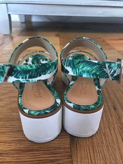 SCHUTZ Slingback Rubber Open Toe Print White and Green Sandals