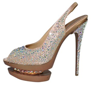 Gianmarco Lorenzi Crystal Disco Ball Pumps Blush Pink Platforms