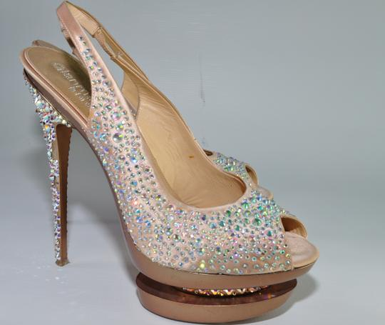 Gianmarco Lorenzi Crystal Disco Ball Pumps Blush Pink Platforms Image 1