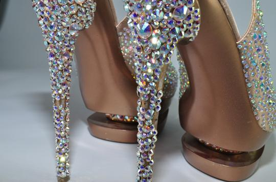 Gianmarco Lorenzi Crystal Disco Ball Pumps Blush Pink Platforms Image 5