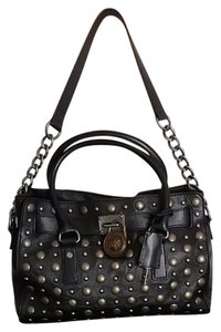 Michael Kors Studded Leather Satchel in Black