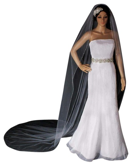 Preload https://img-static.tradesy.com/item/21994593/white-long-cathedral-with-glary-hand-sewn-double-shiny-silver-bugle-bridal-veil-0-1-540-540.jpg
