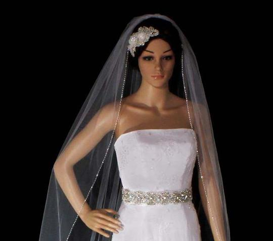 White Long Cathedral with Glary Hand Sewn Double Shiny Silver Bugle Bridal Veil