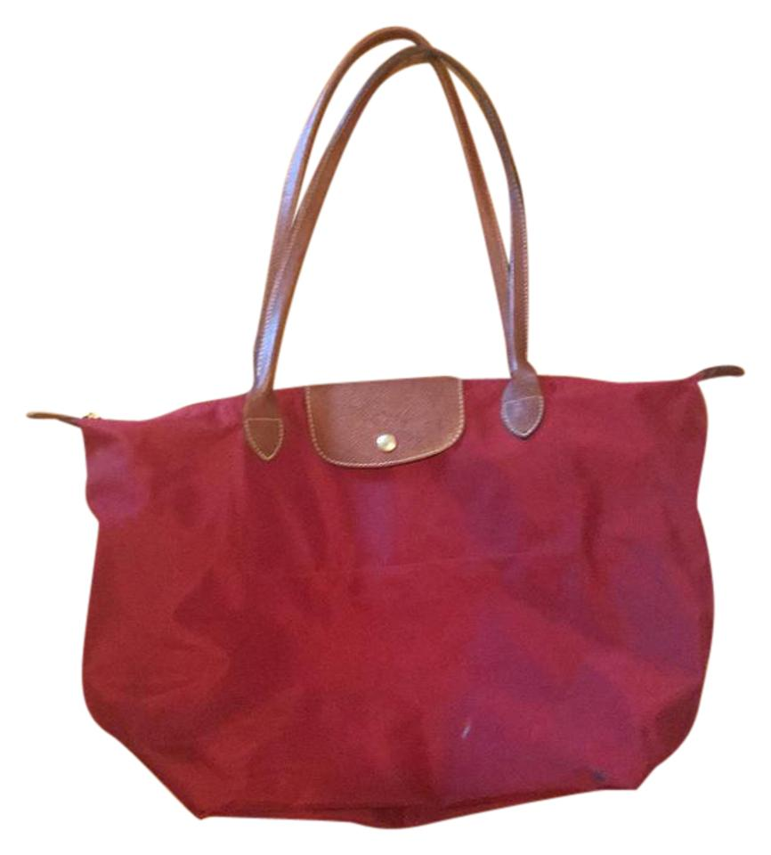 d6dbc57c0509 Longchamp Le Pliage Large Shoulder Deep Red Nylon Tote - Tradesy