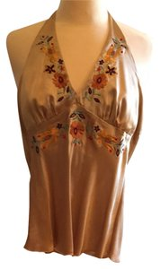 Arden B. Gold With Embroidery Halter Top
