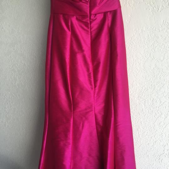 Hayley Paige Fuchsia Dupioni 5559 Modern Bridesmaid/Mob Dress Size 6 (S)