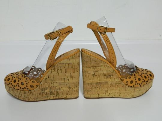 Tory Burch Leather Perforated Tan Wedges