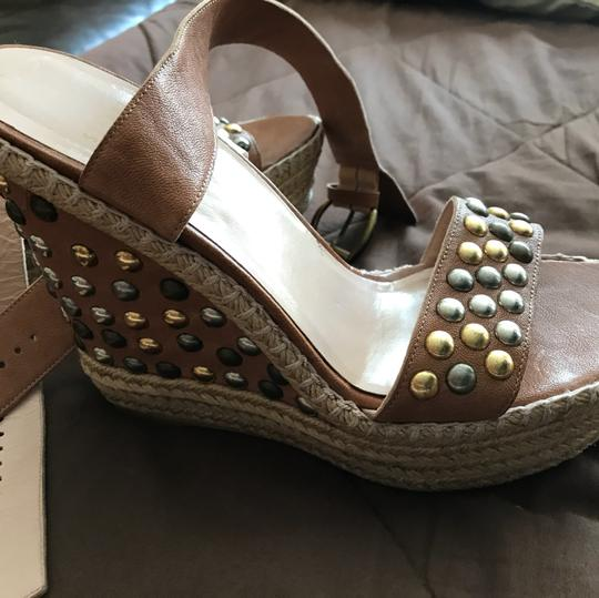 Stuart Weitzman Tan with Pewter & Gold accessories Wedges