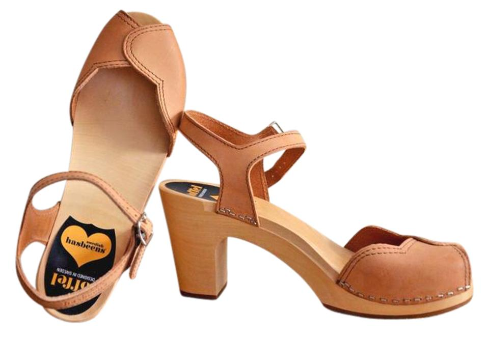 Swedish Hasbeens Natural Leather Heart Wooden Platform 40us Sandals Size Us 9 Regular M B 5 Off Retail