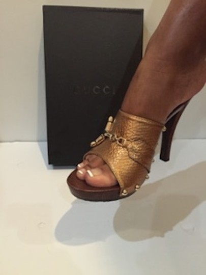 Gucci Stick-in Gold Metallic Horsebit Mules