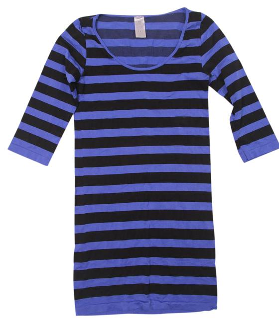 Preload https://img-static.tradesy.com/item/21995500/blue-and-black-34-sleeve-super-stretchy-scoop-short-casual-dress-size-os-one-size-0-1-650-650.jpg
