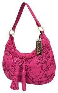 Isabella Fiore Leather Stitched Flowers Hobo Bag