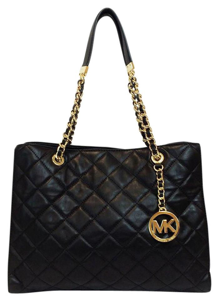 e752be4b2fe5 MICHAEL Michael Kors Susannah Large Leather Quilted Tote in Black Image 0  ...