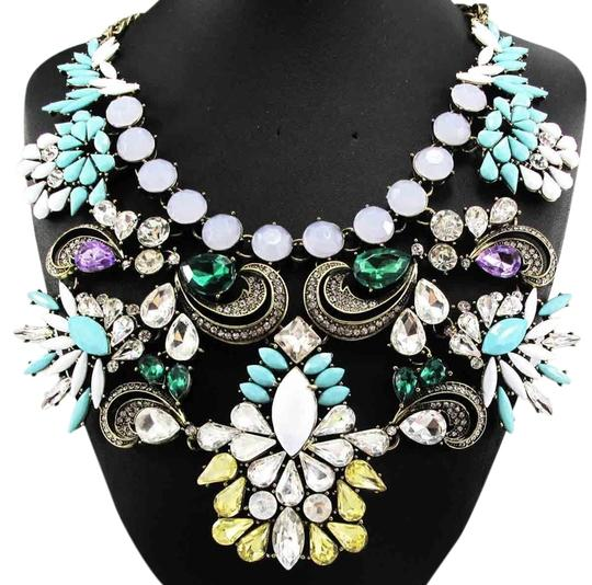 Other Multicolor Turquoise Crystal Accent Statment Fashion Necklace