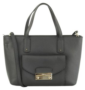 Furla Julia Made In Italy Leather Satchel in ONYX Black