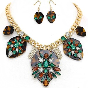 Rhinestone Crystal Accent Orchid Statement Fashion Necklace and Earring