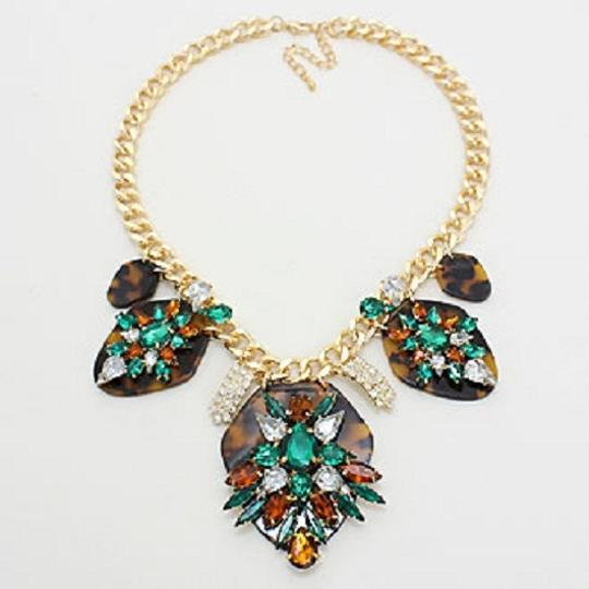 Other Rhinestone Crystal Accent Orchid Statement Fashion Necklace and Earring