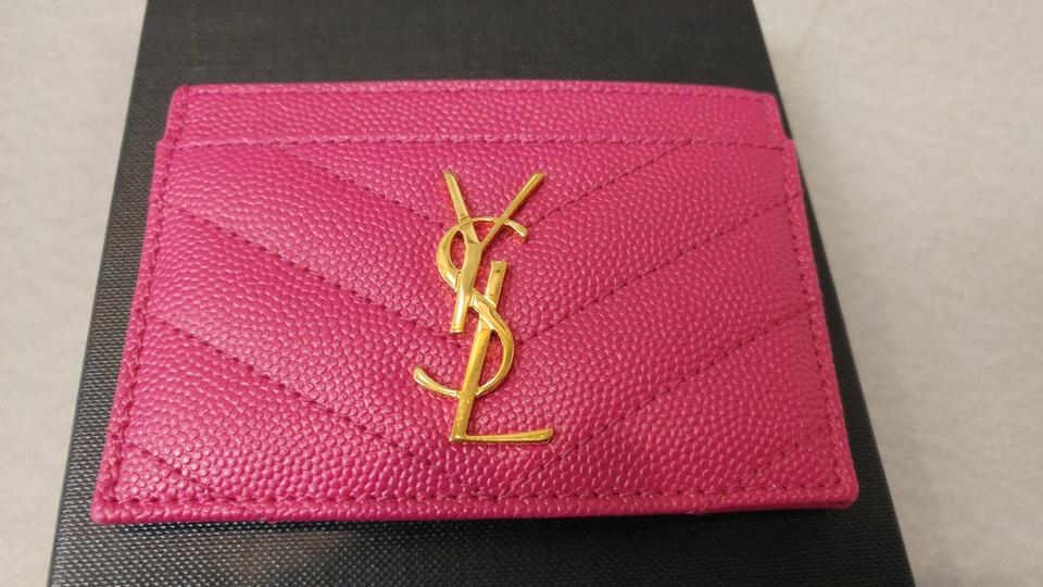 outlet store 7143f 46b3b Saint Laurent Lipstick Pink Ysl Leather Card Holder 358089 Wallet 46% off  retail