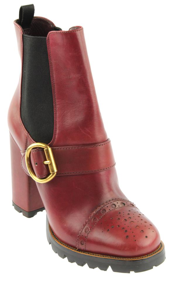 136f434b79859c Prada Burgundy Brogue Buckle Leather Ankle Boots/Booties. Size: EU 39.5 ( Approx.