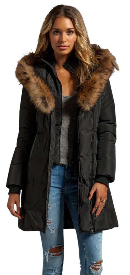 06bfa632d54 Mackage Black Kay Women's Winter Down Fur Trim Hood Coat Size 16 (XL ...