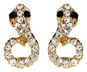 Amrita Singh Amrita Singh Snake stud earrings with Austrian crystals & resin stones in Gold