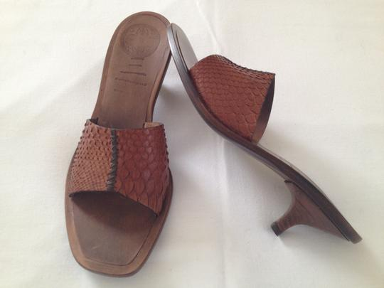 Panetulipani Italian Leather Snakeskin Brown Mules