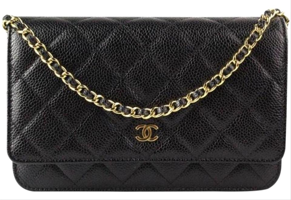 9a490501892c Chanel Wallet on Flap Clutch Classic W  Chain Black Caviar Leather ...