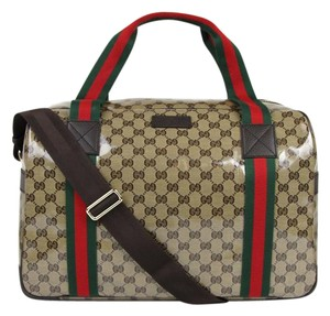 8aa9bafc3b6cd Gucci Crystal Canvas Duffle Travel Brown Travel Bag