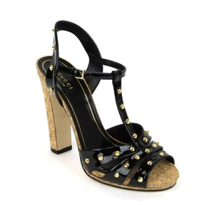 Gucci Jacquelyne Studs Patent Leather Black Sandals