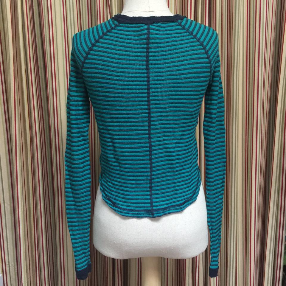 05decf102 Free People Striped Distressed Crop Green and Blue Sweater - Tradesy