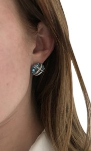 David Yurman Cable Wrap Earring With Blue Topaz And Diamonds