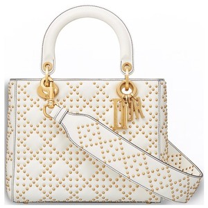 Dior Lady Studded Calfkin Cannage Tote in IVORY