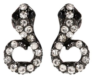 Amrita Singh Amrita Singh Snake Stud Earrings With Austrian Crystals & Resin Stones in Gunmetal