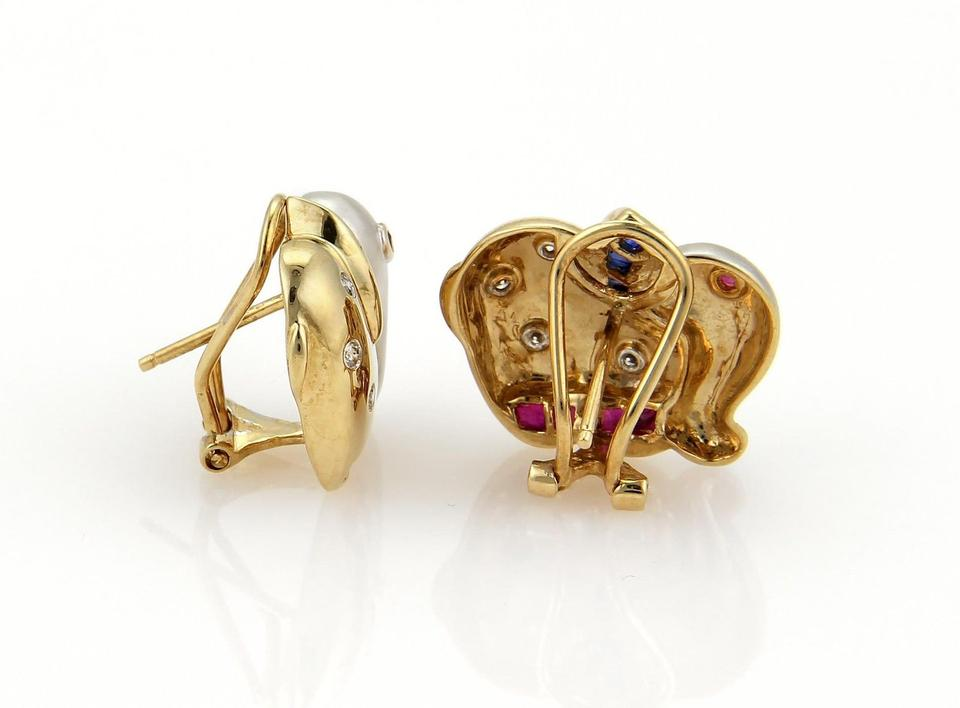 Yellow white gold blue red gems vintage 113ct diamonds sappphire 14k gold elephant earrings 12345 freerunsca Images
