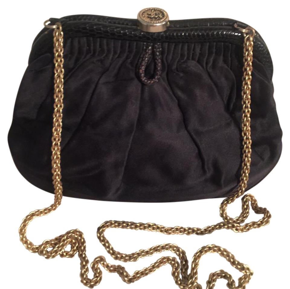 03891ae8b461 Chanel Evening Bag Rare Early 1980's Gold Chain Silk Satin Exterior Soft  Leather Interior Clutch
