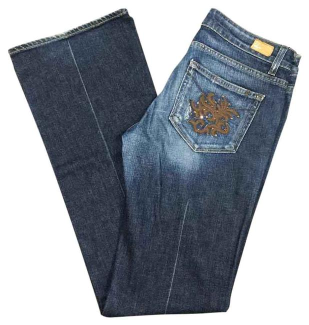 Item - Blue Brown Distressed Laurel Canyon Boot Cut Jeans Size 30 (6, M)