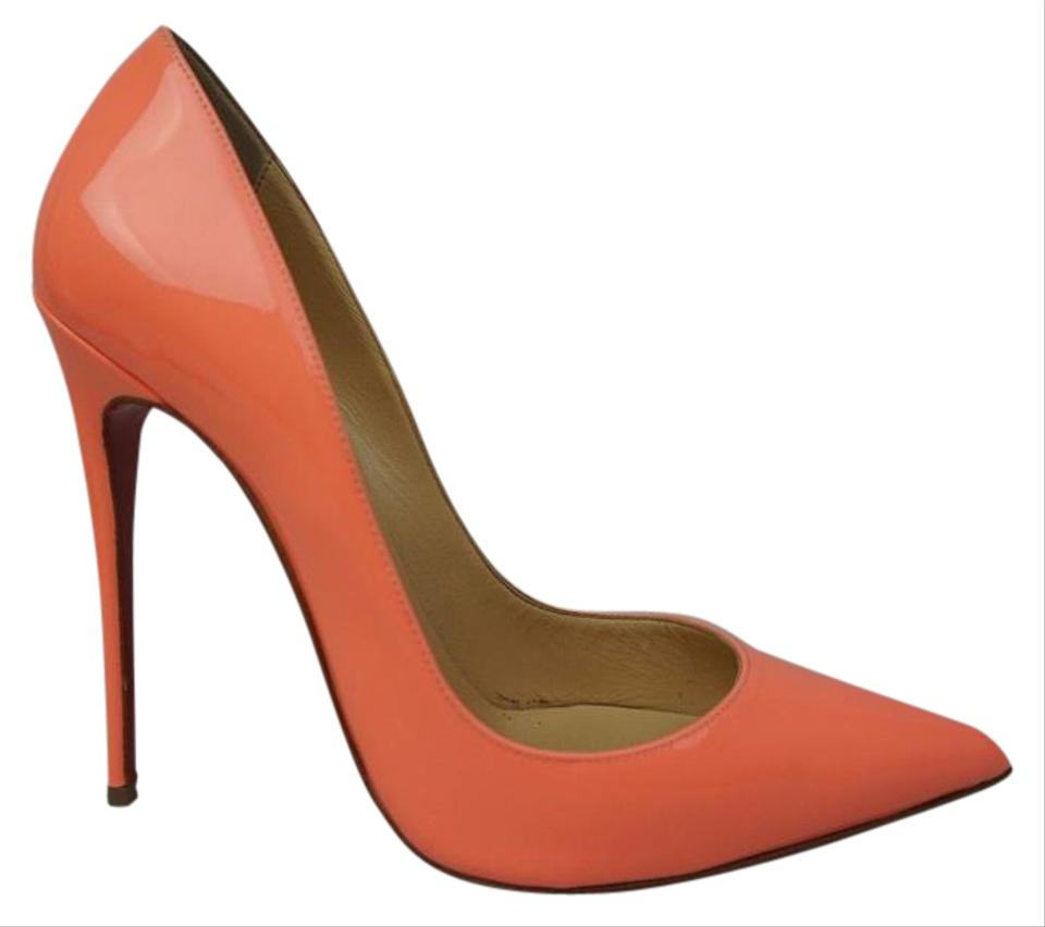 f1df3846dd64 Christian Louboutin Flamingo Peach Patent Leather Pigalle 120 Mm ...