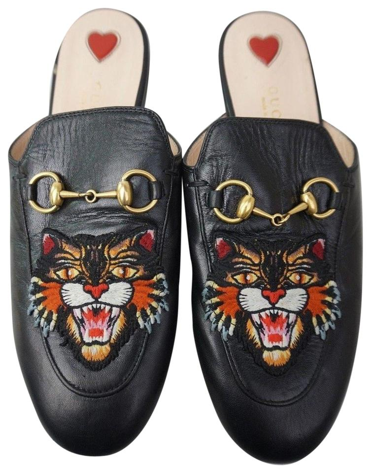 cc8372a3fed Gucci Black Women s Princetown Angry Cat Leather Loafer Mules Slides ...