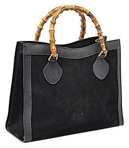 037fed8235e Gucci Bamboo Handles Suede Tote in Black