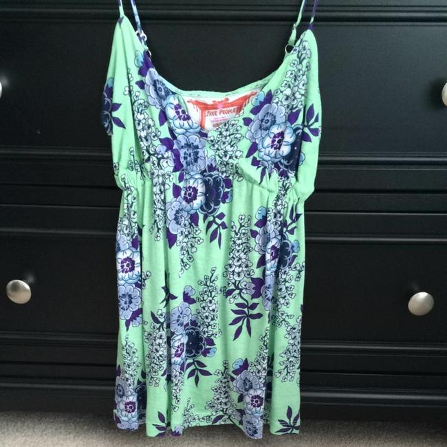Free People Top Green And Navy Floral